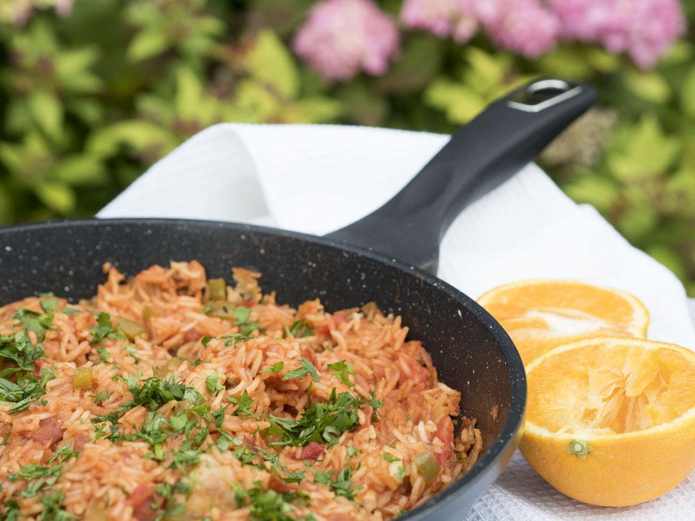 Quick and Easy Orange Chicken Jambalaya Recipe with House of Fraser Linea Frypan