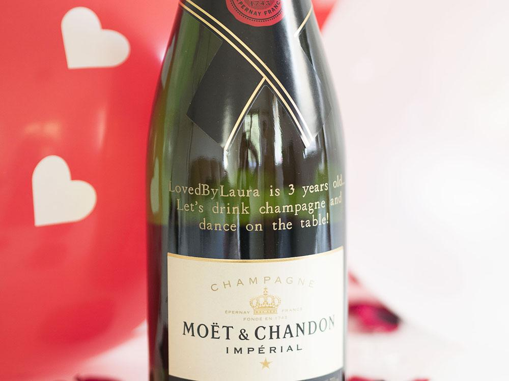 LovedByLaura 3rd Birthday Personalised Gift Champagne