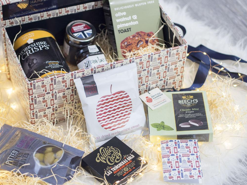 The British Hamper Company Deluxe Vegan Hamper - arial view of box contents
