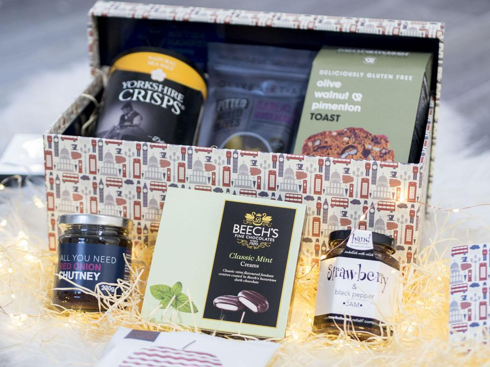 The British Hamper Company Deluxe Vegan Hamper -contents of the box laid out