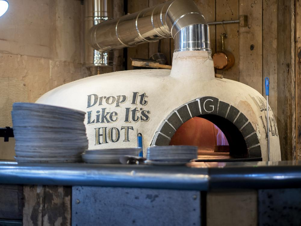 The Queen's Head Peterborough - the artisan pizza oven fired up and ready to go