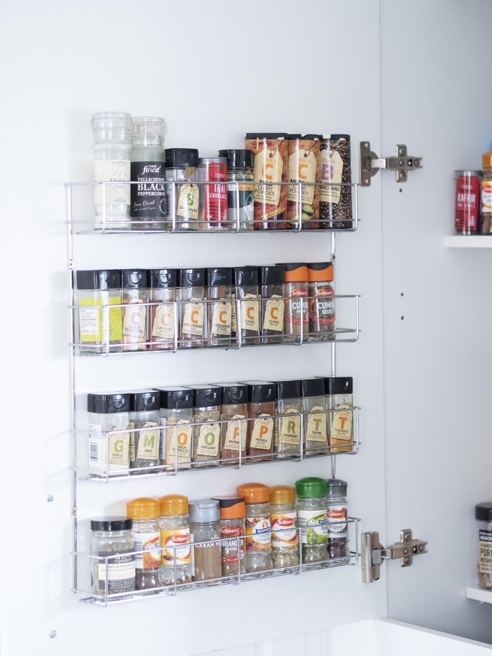 Spice rack installed inside a cupboard door
