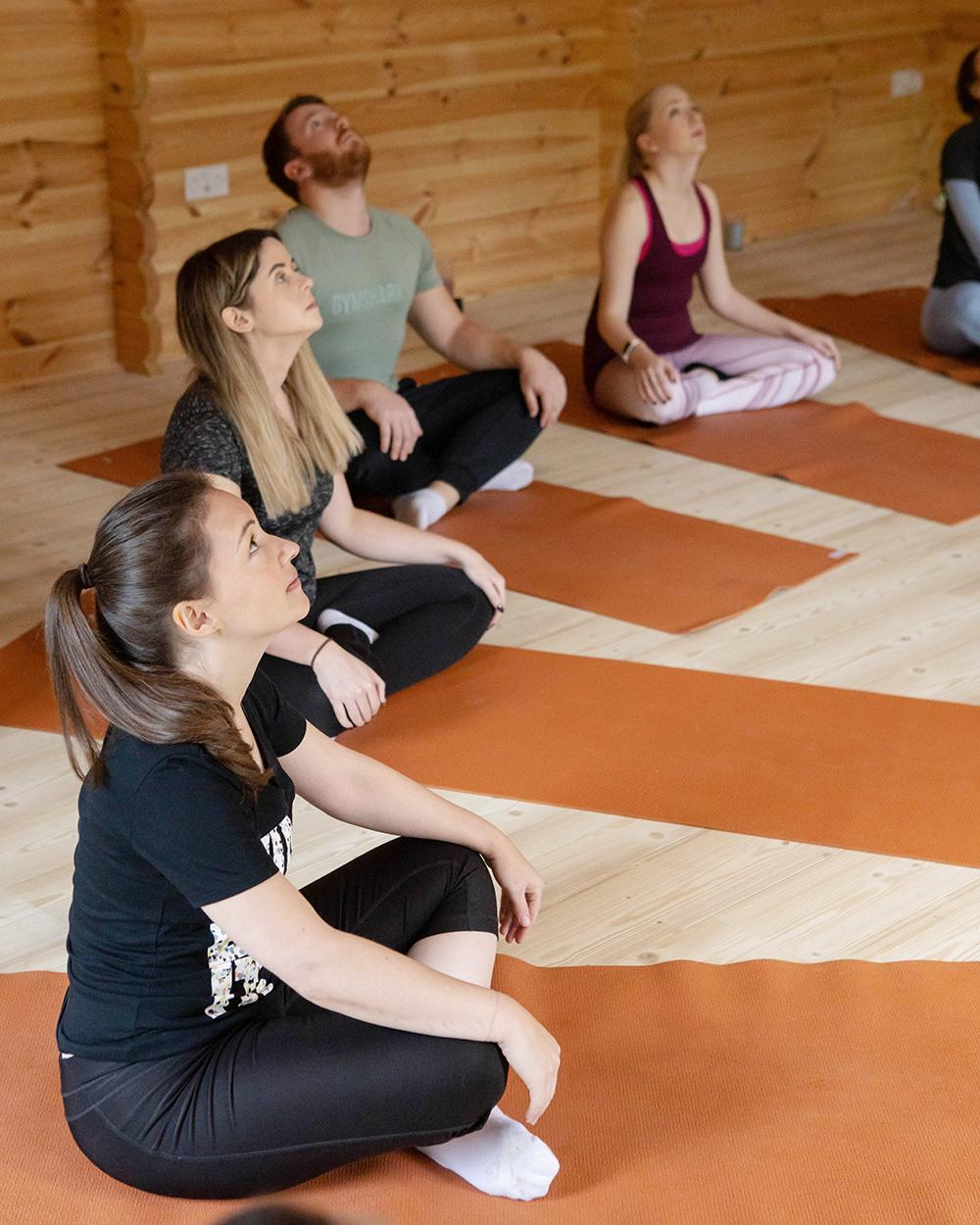 Fullers Hill Retreat Yoga and Mindfulness - our group doing yoga