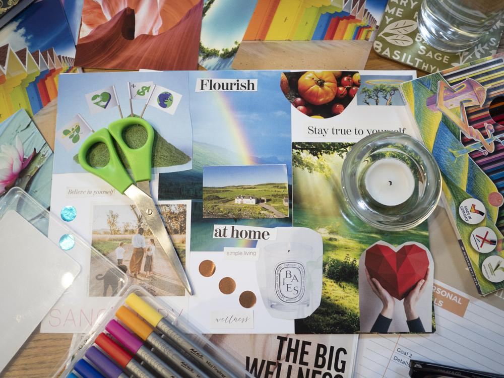 Mindfulness moodboard - lots of cut outs from magazines, scissors, and glue!
