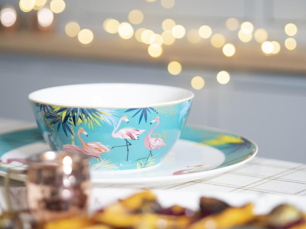 Sarah Miller London fine china bowl with painted flamingos