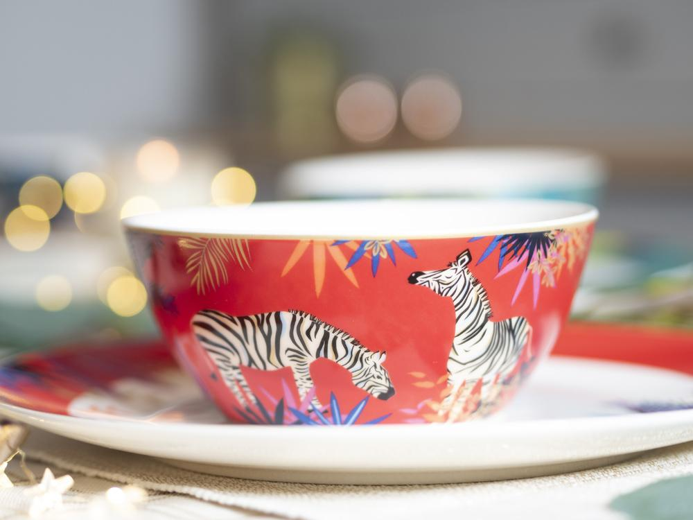 Sarah Miller London fine china bowl with painted zebras