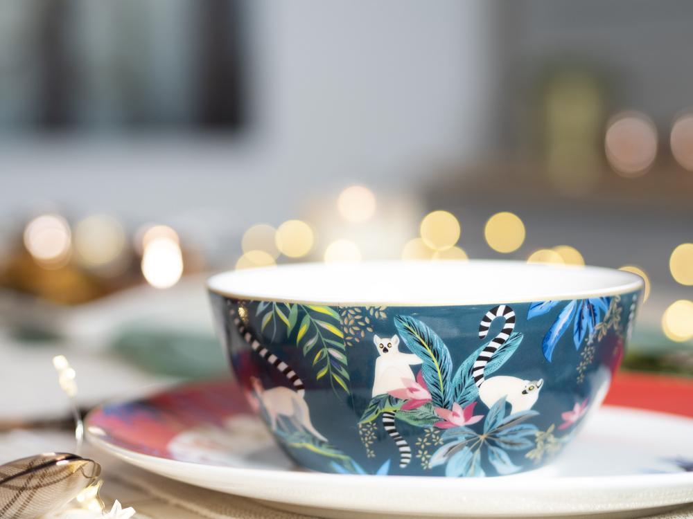 Sarah Miller London fine china bowl with painted lemurs