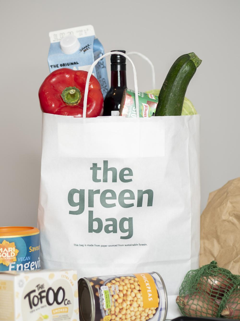 Beginner's Guide to Vegan Food Shopping | Veganuary 2020 (picture of shopping bag and groceries)