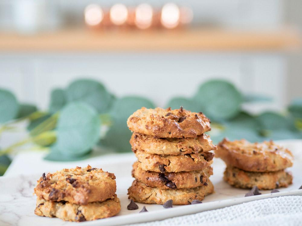 A pile of vegan protein peanut butter chickpea cookies
