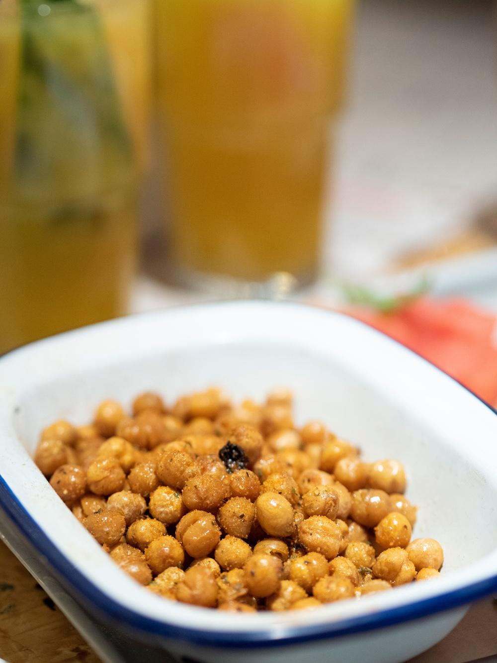 A close up of the chickpeas from the Turtle Bay Festive Menu. They are crispy and you can see that they have a salty crunchy texture to the outside.