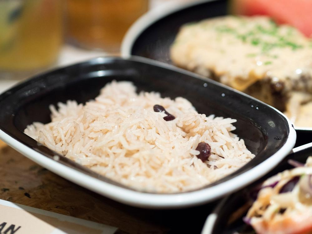 A close up of the rice and peas side dish that accompanied the Jerk Berry Tofu.