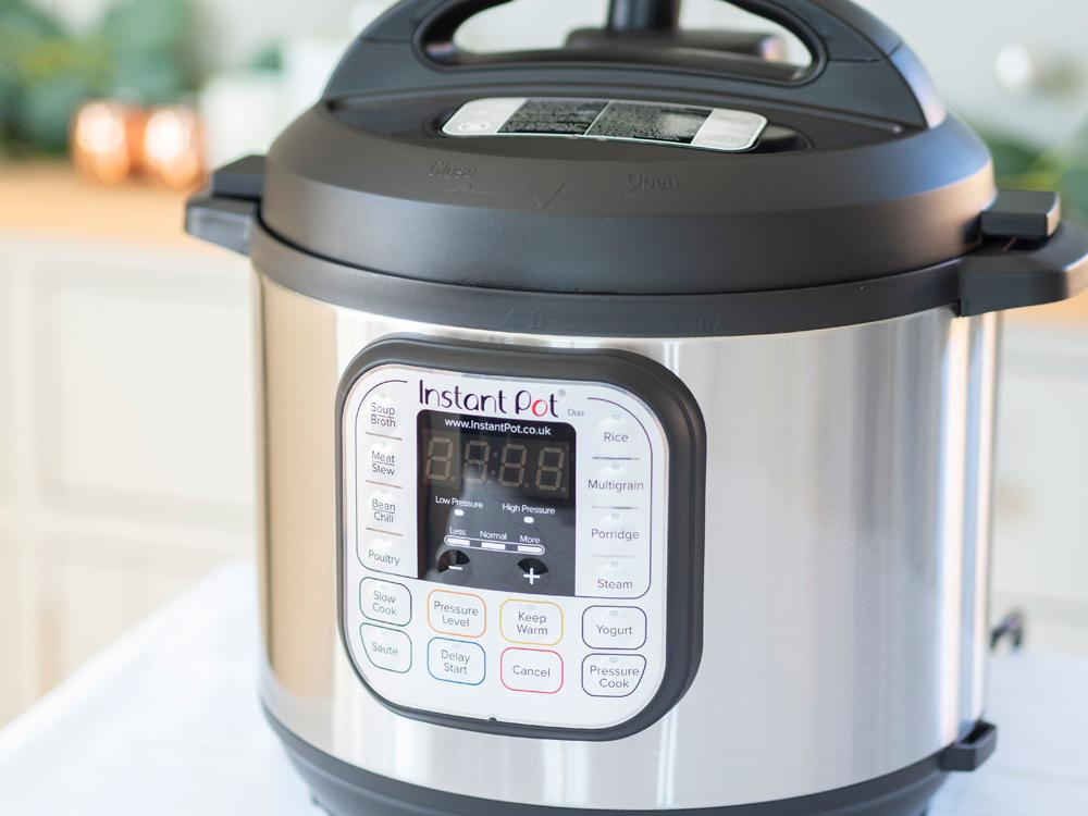 A side angle of the instant pot pressure cooker.